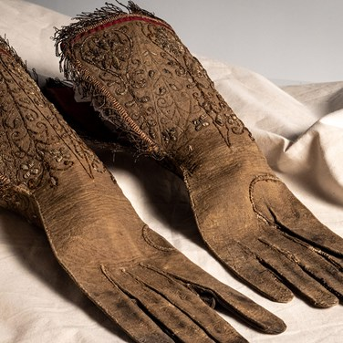 We awarded £45,500 to the Worthing Museum & Art Gallery in 2019 to create a costume research centre covering this regional museum's important collection of textiles and costume. Image: Pair of leather gauntlet gloves, circa 1650. © Worthing Museum & Art Gallery.
