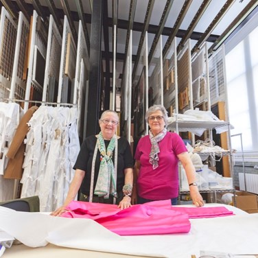 Joan and Sue are volunteers at the Clothworkers' Centre for the Study and Conservation of Textiles and Fashion at the Victoria and Albert Museum (V&A), Blythe House, which received £1 million from The Company. © Victoria and Albert Museum, London.
